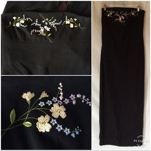 Vintage 90s Strapless Embroidered Maxi Black Dress